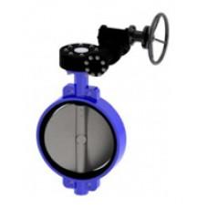 Межфланцевый дисковый поворотный затвор Tecofi VPE4449-08 Ру16 – корпус ковкий чугун – диск нерж.сталь 316 – с механическим редуктором DN 350-1200