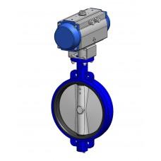 Межфланцевый дисковый поворотный затвор Tecofi VPE4449-N07 Ру16 – корпус ковкий чугун – диск нерж.сталь 316 – с пневмоприводом одностороннего действия DN 350-1200