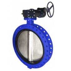 Узкий фланцевый дисковый поворотный затвор Tecofi VPE4509-08 Ру10 – корпус ковкий чугун – диск нерж.сталь 316 – с механическим редуктором DN 350-1200