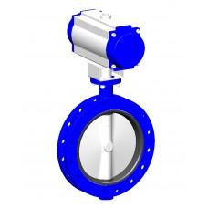 Узкий фланцевый дисковый поворотный затвор Tecofi VPE4549-N07 Ру16 – корпус ковкий чугун – диск нерж.сталь 316 – с пневмоприводом одностороннего действия DN 350-1200