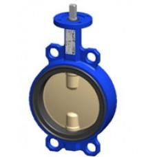 Межфланцевый дисковый поворотный затвор Tecofi VPI4442-00 PN 10/16 корпус из чугуна – диск из сплава алюминия с бронзой – с голой осью DN 40-300