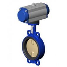 Межфланцевый дисковый поворотный затвор Tecofi VPI4442-N03 PN 10/16 корпус из чугуна – диск из сплава алюминия с бронзой – с пневмоприводом двухстороннего действия DN 40-300