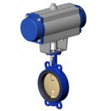 Межфланцевый дисковый поворотный затвор Tecofi VPI4442-N07 PN 10/16 корпус из чугуна – диск из сплава алюминия с бронзой – с пневмоприводом одностороннего действия DN 40-300