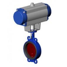 Межфланцевый дисковый поворотный затвор Tecofi VPI4448-N07 PN 10/16 корпус и диск из ковкого чугуна – с пневмоприводом одностороннего действия DN 40-300